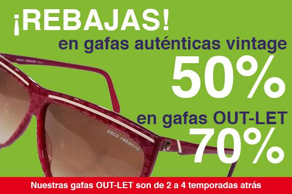 Rebajas del 50% y 70% en gafas vintage y OUTLET