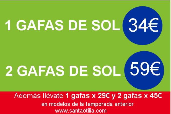 Oferta en gafas de sol; 1×34€, 2×59€